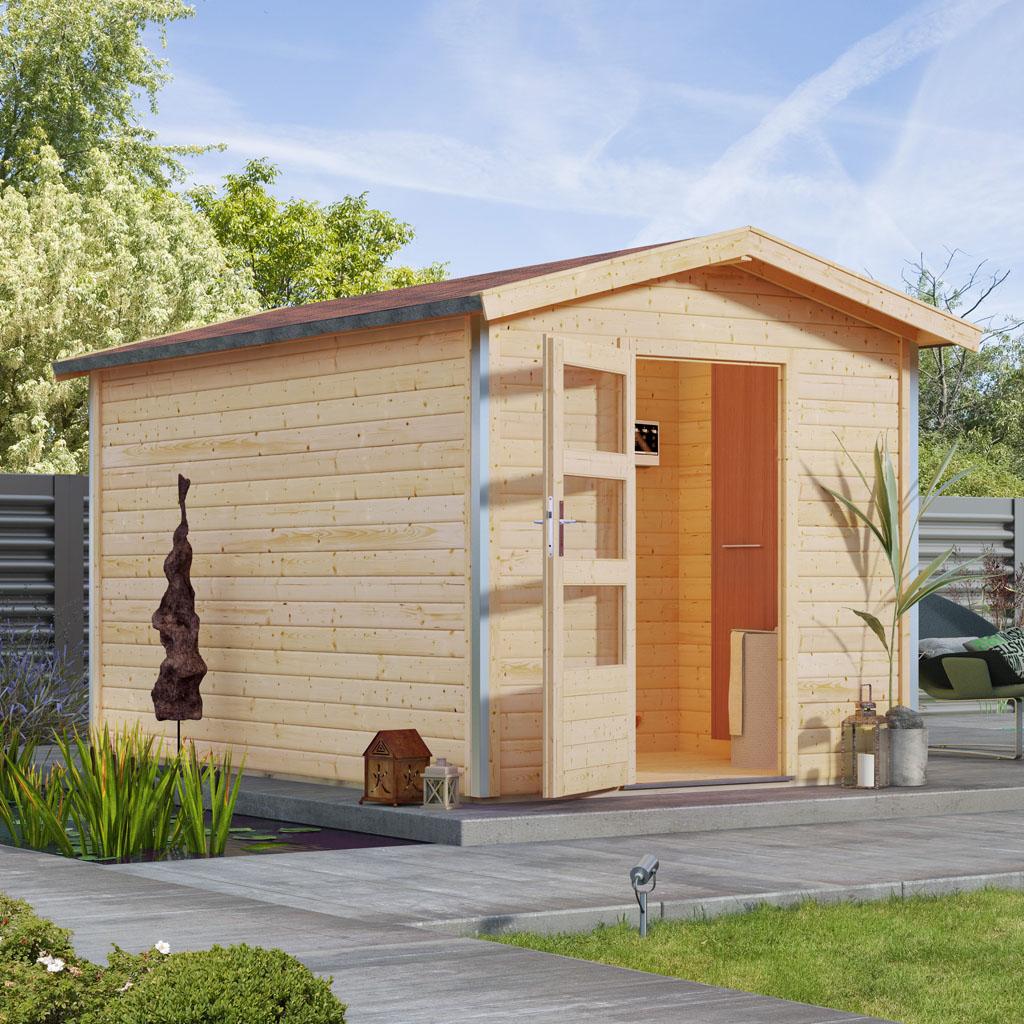 karibu saunen g nstig online kaufen bei gamoni karibu 38 mm saunahaus bosse 1 mit vorraum. Black Bedroom Furniture Sets. Home Design Ideas