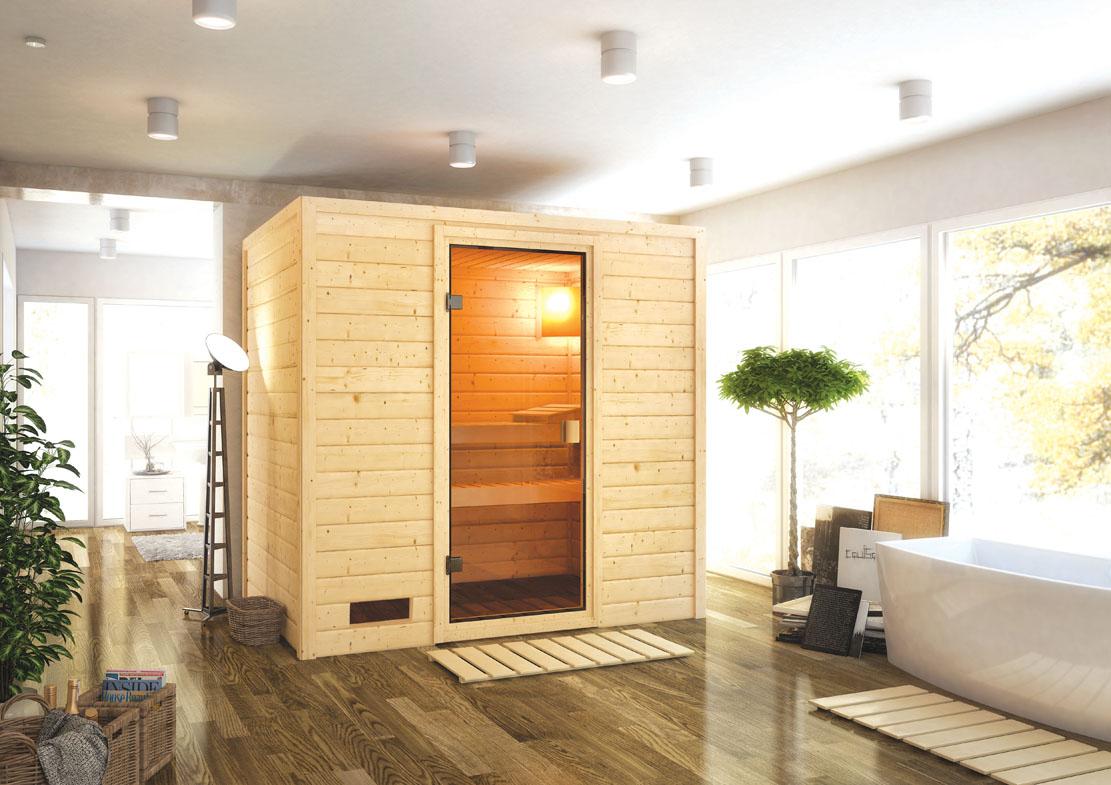 karibu saunen g nstig online kaufen bei gamoni woodfeeling 38 mm massiv sauna samira. Black Bedroom Furniture Sets. Home Design Ideas