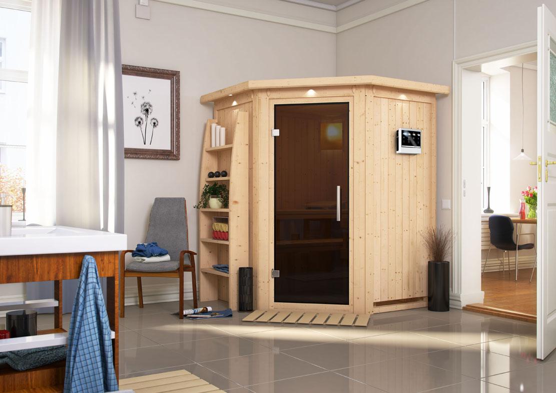 karibu saunen g nstig online kaufen bei gamoni karibu 68 mm system sauna larin. Black Bedroom Furniture Sets. Home Design Ideas